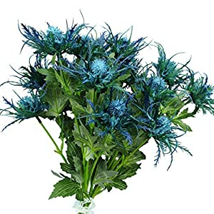 Lily Garden 6 Long Stems Artificial Eryngo Thistles Bunch of Flowers Plants for Home Decor Centerpieces