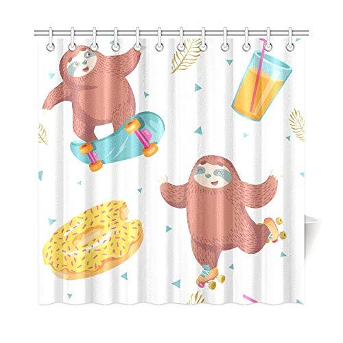 QIAOLII Wohnkultur Bad Vorhang Faultier Auf Rollschuhen Polyestergewebe Wasserdicht Duschvorhang Für Badezimmer, 72X72 Zoll Duschvorhang Haken Enthalten