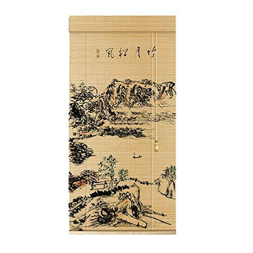 YILANJUN Personalizable Estores de Bambú Manual/Eléctrica,Natural Seda de Bambú Fina,Elevable,Persiana Puerta Enrollables Cortina,Muy Utilizado