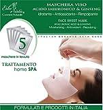 Maschera Viso Antirughe in Tessuto (5 pezzi) - con Acido Ialuronico e Ginseng - Pre-Sagomata Monouso Effetto Lifting - Antiossidante - Rimpolpante - Idratante Trattamento Professionale contro le rughe