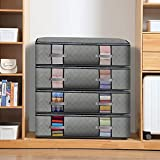 Extra Large Under Bed Storage Containers 4-pack Large Capacity Clothes Organizers Under The Bed Storage Bags for Bedding,Clothes,Blankets shoes Clear Window Grey