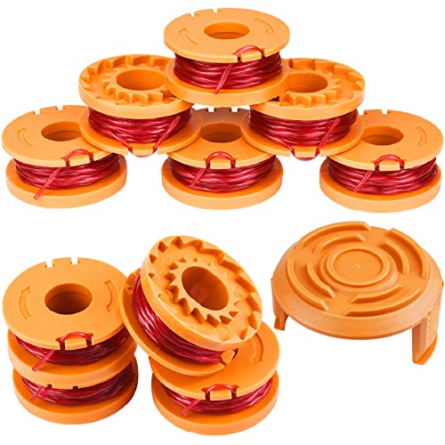 """EAONE 10 Pack Replacement Trimmer Edger Spool Line with Trimmer Cap Cover, 10ft 0.065"""" Single Line Grass Trimmer Auto-Feed Spool Weed Wacker Eater String for Worx WG150-WG157 WG160 WG163 WG180 etc."""