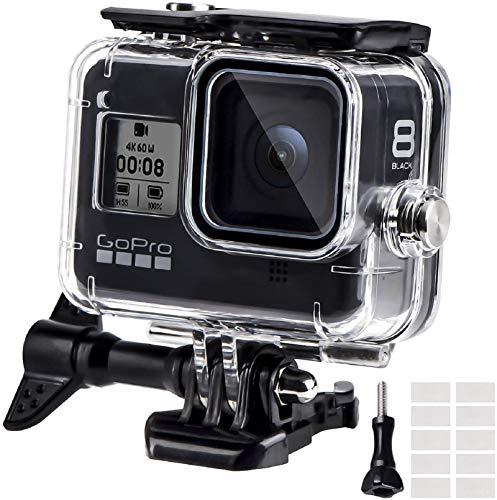REDTRON Wasserdichte Gehäuse für GoPro Hero 8, 60M Wasserresistente Tauchen Schutzhülle Gehäuse mit Schnellmontage Klammer & 12 Anti-Fog-Einsätze Zubehör für Gopro Hero 8 Black Action Camera(2019)
