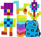 Brainspark DigitBlocks 48 Pcs Magnetic Building Blocks 8 Colors Sensory Toys for Kids STEM Educational Sets Learning & Development Toys Magnet Cubes