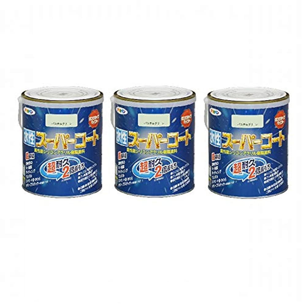 教育水曜日やがてアサヒペン ペンキ 水性スーパーコート 水性多用途 パステルグリーン 1.6L 【まとめ買い3缶セット】