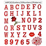 64 Pieces Iron on Letter Patches, Alphabet Applique Patches, Sew on Appliques with Embroidery Patch A-Z&0-9, Decorative Repair Patches for Clothing, Shirts(52 Letters/10 Numbers/2 Patterns/Red)