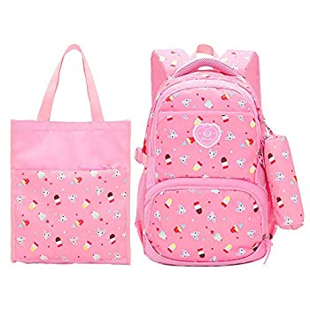 MITOWERMI 3 Pcs set School Backpack for Girls Bookbag Cute Ice Cream Prints Laptop Backpack 3 In 1 Kids Casual Daypack School Bags + Lunch Tote Bag + Pencil Case  Pink