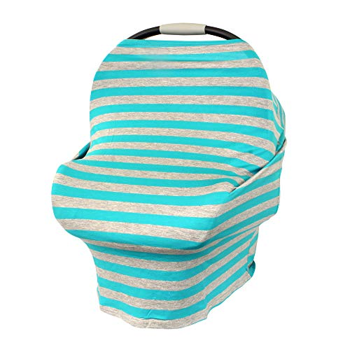 BAYI - Infant Canopy Car Seat Cover Baby Stroller Protector for High Chairs Sit-Me-Up Covers & Nursing Breatheable Lightweight Cover Super Stretchy - Turquoise/Grey