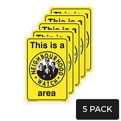 Señal amarilla de seguridad con texto en inglés «This is a Neighbourhood» para el área del reloj, pegatinas de advertencia de seguridad, etiquetas de vinilo, calcomanías de señal de propiedad privada, paquete de 5, 200 mm x 300 mm