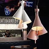 Nordic macarrón color araña estilo industrial restaurante colgando luz fresco creativo metal colgante luz barra contador restaurante barbacoa e14 30 * 50 cm (Color : Pink)