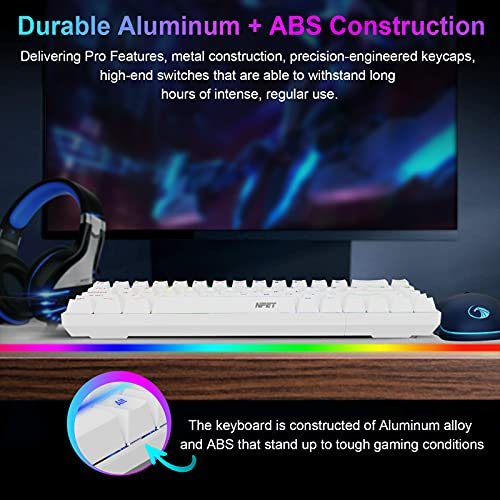 NPET K61 60% Mechanical Gaming Keyboard, RGB Backlit Ultra-Compact Gaming Keyboard, Mini Wired Computer Keyboard with Red Switches for Windows PC Gamers (68 Keys, White)