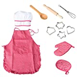 NIWWIN Set da Cuoco per Bambini Grembiuli, 11 Pezzi per Bambini da Cucina Play Kitchen Cottura Impermeabile per Regalo della Ragazza
