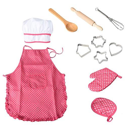 NIWWIN Chef Set Delantales para niños, 11 Piezas para niños, Cocina, Cocina, horneado a...