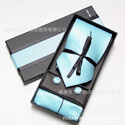 YUANZYPS De Cravate pour Homme,Cravate Tranquil Lake Blue Art Cravate Poche Serviette Boutons De Manchette Jacquard Couture À La Main Artisanat Design Confortable Banquet De Mariage Hôtel d'affaires