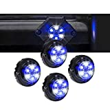 4pc SnakeEye III BLUE CLEAR LED Hideaway Strobe Light [SAE Class 1] [IP67 Waterproof] [72 Flash Modes] [Multi Units Sync-able] [Steady Override] Emergency Strobe Police Lights For Firefighter Vehicle