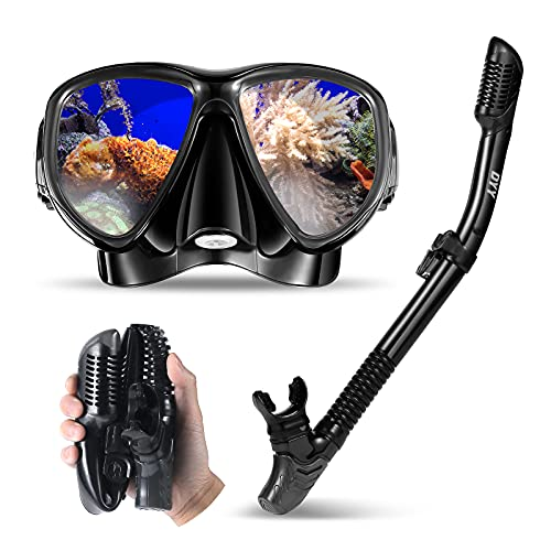 DYY Patented Anti-Fog Dry Snorkeling Gear, Professional Diving Mask for Adults, Youth, Anti-Leak Tempered Glass Mesh Bag for Diving, Swim, Snorkel Mask Set Designed in Italy with Dry-Wet Switchable