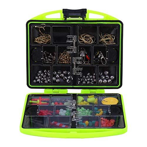 Qioni Caixa de equipamentos leve, kit de caixa de carga completa, conjunto de ferramentas de pesca de plástico verde com 24 compartimentos, acessórios de pesca para pesca ao ar livre