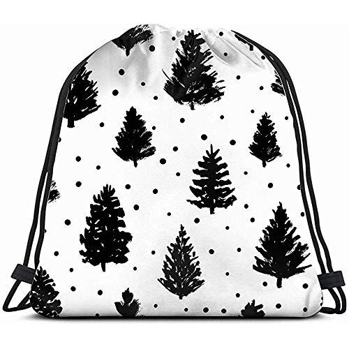 jenny-shop weihnachtsbäume skizzen Kordelzug Rucksack Gym Sack leichte Tasche