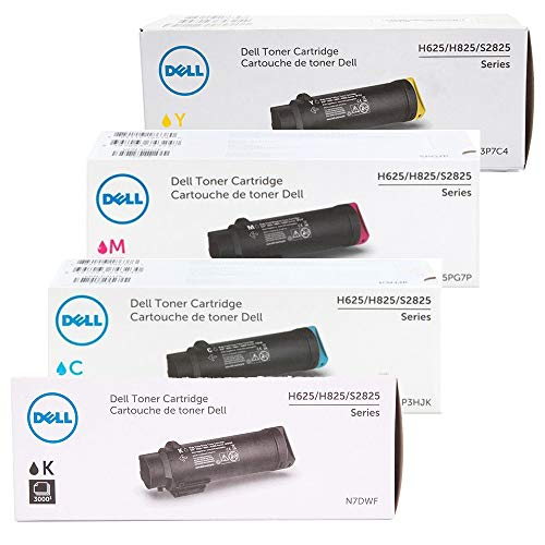 Dell 4-Color High Yield Toner Cartridge Set for H625, H825, S2825 Laser Printers