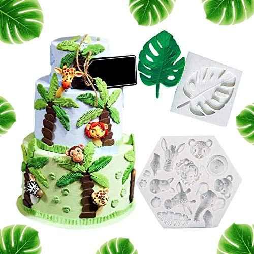 Set of 2 Jungle Safari Animal Cake Mold Fondant Mold Tropical Leaf Chocolate Candy Molds for Sugar Craft Cupcake Cake Decoration Jungle Animal Birthday Party Baby Shower