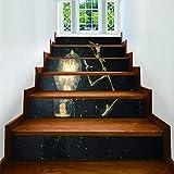 Adhesivo 3D para escaleras de Halloween, autoadhesivo, resistente al agua, extraíble, para armarios de cocina, escaleras, baño, decoración de arte principal