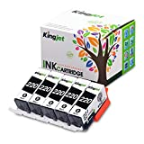 Kingjet Compatible Ink Cartridge Replacement for PGI-220 Black Work with PIXMA MP560 MP620 MP620B MP640 MP980 MP990 MX860 MX870 IP3600 IP4600 IP4700 Printer, 5 Pack(Black)