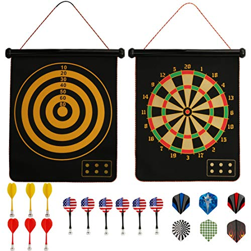 STSTECH Magnetic Dart Game Set,Double Sided Roll-up Dart Board Hangs Anywhere,Indoor Outdoor Bullseye Game Gift for Kids Adult w/ 12 Safe Darts 6 Bonus Flights (Style01)