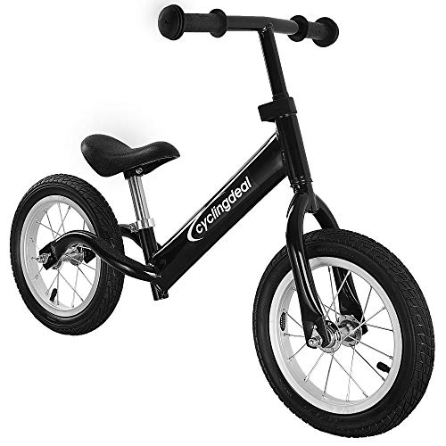 CyclingDeal Kids Sports Child Push Balance Glider Bike Walking Bicycle for Boys & Girls 12 Inch for 18 Month 2 3 4 5 Years Old Toddlers with Footrest Aluminum Alloy Rim Rubber tire Black