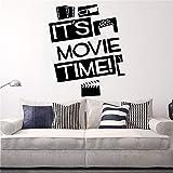 Decoración de pared póster de sala de cine es hora de la película calcomanía de vinilo arte Mural extraíble adorno de película de belleza 57 * 68cm