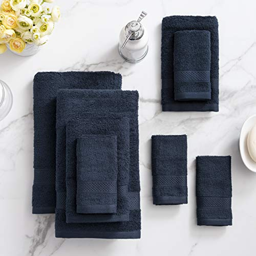 Welhome 100% Cotton Towel (Deep Navy)- Set of 8 - Quick Dry...