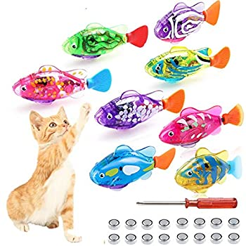Swimming Robot Fish Cat Toy Interactive Fish Cat Toys For Indoor Cats Play Cat Enrichment Electronic Cat Stuff Kitty Exercise Toys Fish with LED Light to Stimulate Your Cat s Hunter Instincts  8pcs