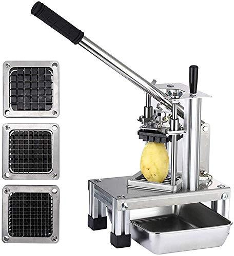 KKTECT Astilladora de Patatas Comercial Cortadora de Frutas Vegetales con 3 Cuchillas de Acero Inoxidable-1/4'1/2' 3/8'Cortador de Patatas Fritas