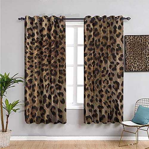 Cortina aislada con estampado de leopardo, de 160 cm de largo, casi natural, decoración safari, diseño de gato, piel de animal, para interior, negro, marrón, beige, 163 x 163 cm