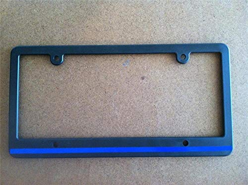 Yohoba Skinny Black License Plate Frame Thin Blue Line Reflective