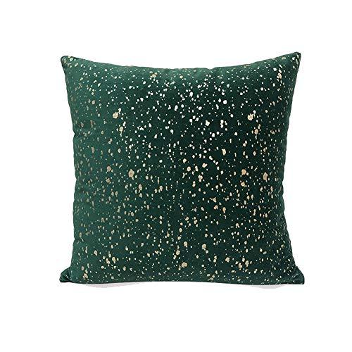 Paillettes Glitterate Cuscino Morbido velluto di lusso Fodera per cuscino quadrato per soggiorno divano balcone camera da letto con cerniera invisibile Verde scuro 43*43cm(con anima del cuscino)