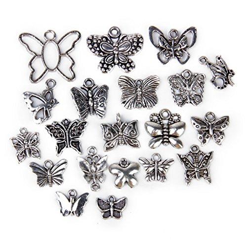 F Fityle 20 Piezas Colgantes de Mariposa de Plata Vintage Encantos Hallazgos de Joyería de Metal