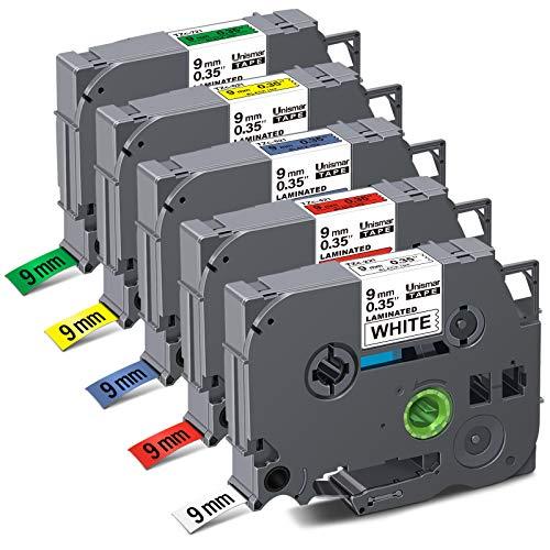 "Unismar Compatible Label Tape Replacement for Brother PT TZe221 TZe421 TZe521 TZe621 TZe721 9mm Laminated Tape for PT-D200 PT-D210 PT-D600 PT-D400 PT-H100 PT-H110 Label Maker, 3/8"" x 26.2', 5-Pack"