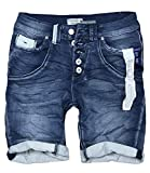 Boyfriend STS - Bermuda da donna in jeans, con cuciture a contrasto, effetto lavato Dark Blue Duo S