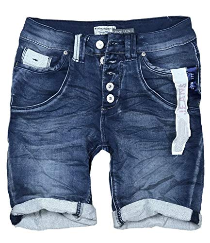 15 Farben Damen Jeans Bermuda Short by Eight2Nine Boyfriend Look tiefer Schritt Jeansbermuda mit Kontrastnähten Washed Kurze Hose (S, Dark Blue Duo)