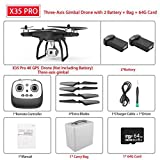 MEIGONGJU X35 / X35 Pro GPS Drone avec Connexion Wi-FI 4K HD caméra à Trois Axes Gimbal Profissional RC Quad Copter brushless FPV Drone Vs SG906 Pro,X35 Pro 2b 64g Card