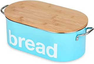 Bread Bin for Kitchen Counter, Bread Storage Box, Food Storage Container, Bamboo Lid, Turquoise