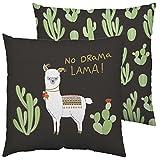 Happy Life 45551 Baumwoll-Kissen mit Tier-Motiv, Kaktus und Spruch No Drama Lama, schwarz, bunt, 40...