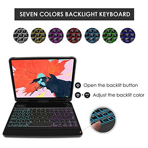 ProCase US-Englisch Tastatur Hülle für iPad Pro 12.9 Zoll 2018(QWERTY-US-Layout) [Unterstützt Pencil Aufladen], 360 Grad Drehbar Schutzhülle mit eingebauter Kabellos –Schwarz