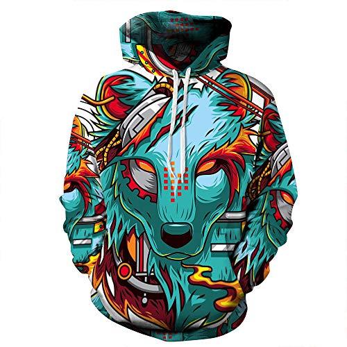 WPHRL Sweats à Capuche Sweatshirt Chemise de Couple Loup féroce Bleu 3D Print Pull à Capuche Pullover Sweater Casual Hoodie Manche Longue Tops Hauts L