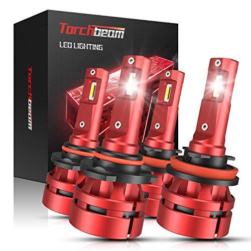 Torchbeam T2 9005 H11 LED Headlight Bulb Kit, 16000 Lumens HB3 High Beam H8/H9 Low Beam Combo, 400% Brightness, 6500K Cool White, Hi/Lo Beam Replacement Bulbs, Pack of 4