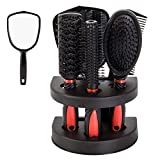 Healthcom Set of 5 Hair Combs Set Professional Salon Hair Cutting Brushes Sets Salon Hairdressing Styling Tool Mirror And Holder Stand Set Dressing Comb Kits for Women and Men,Red