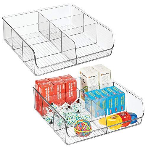 mDesign Open opbergdoos voor kantoor- en ambachtelijke benodigdheden – Praktische opbergruimte met 6 vakken – Opslag voor kantoorbenodigdheden in laden en kasten – Duidelijk... Pack of 2 Helder