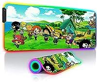 マウスパッド ゲーミングマウスパッドRGBワンピースルフィアニメLEDグローイングゲーマーXXLラージキーボードデスクマット7色31.5x11.8インチ