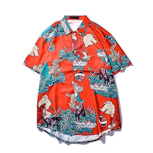 NOBRAND Dark Icon Chinese Traditionele Gedrukt Heren Shirt Korte Mouw Hip Hop Shirts Mannen Rood Shirt voor Mannen