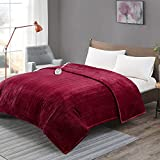 Degrees Of Comfort [Advanced] Microplush Electric Blanket with Auto Shut Off | Heating Blankets for Bed & Living Room | Machine Washable | UL Certified and EMF Radiation Safe - Twin, Red